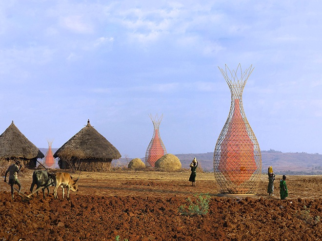 WarkaWater Tower, Arturo Vittori, water collection, ethiopia, italian design, water issues, desert, harvesting water