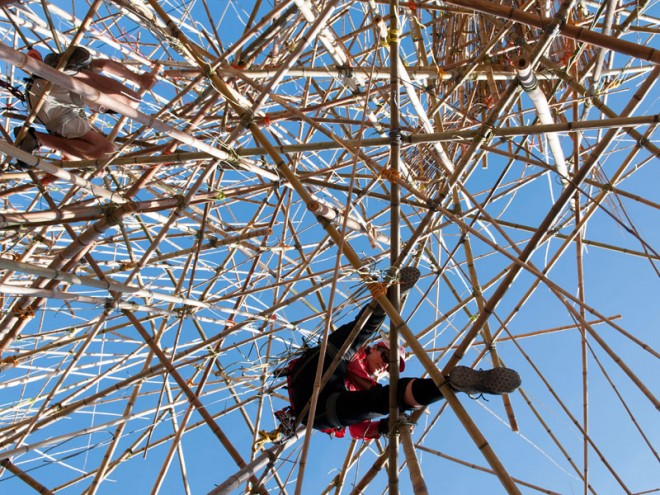 The Big Bambu evolving bamboo sculpture that will hold you, in Jerusalem