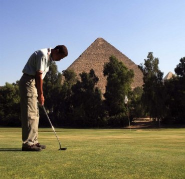 Golfing at the Egyptian Pyramids. What would Pharaoh think?