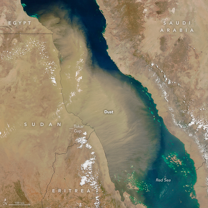 Huge Dust Plume Covers the Red Sea