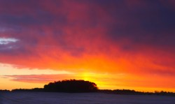 Snow squall at sunrise north of Battle Creek.
