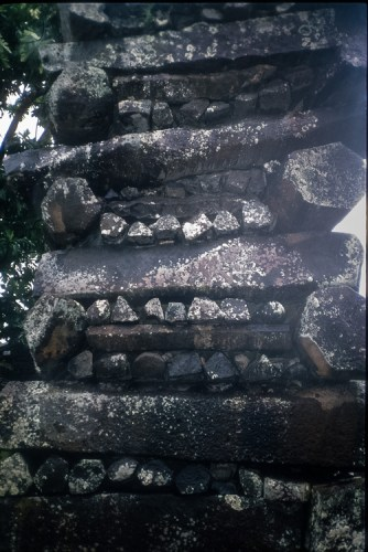 Vertical detail of the stacking of columnar basalt pieces to create a thick wall at Nan Madol - The Mystery of Nan Madol – Greetings from the Past
