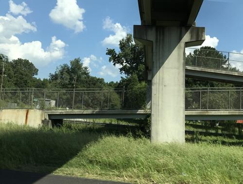 The Juanita M. White Crosswalk Pedestrian Bridge over I-95 from our car, driving north - Juanita M. White Crosswalk Over I-95 in South Carolina