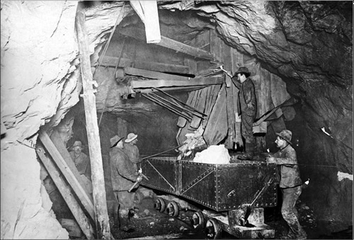 Photo of the miners working the Treadwell Gold Mines