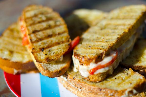Grilled cheese on the grill