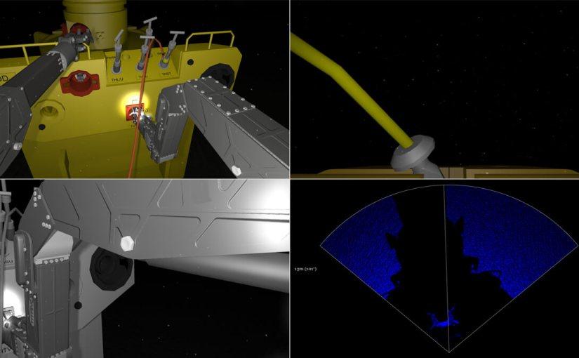 Split-screen custom display depicting 3 cameras and 1 sonar