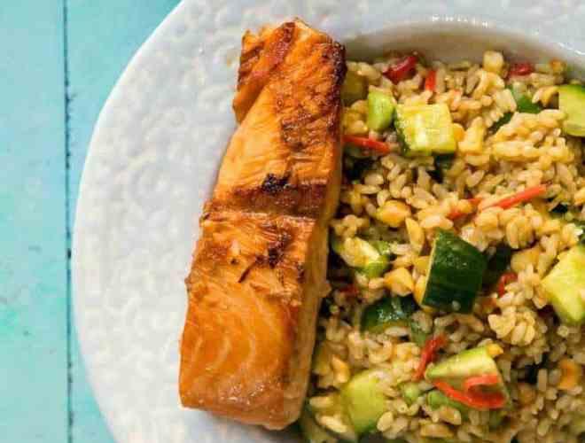 teriyaki salmon and brown rice salad