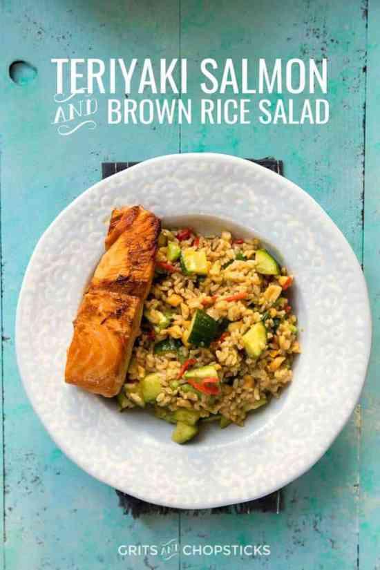 teriyaki salmon and brown rice salad makes a great weekday meal
