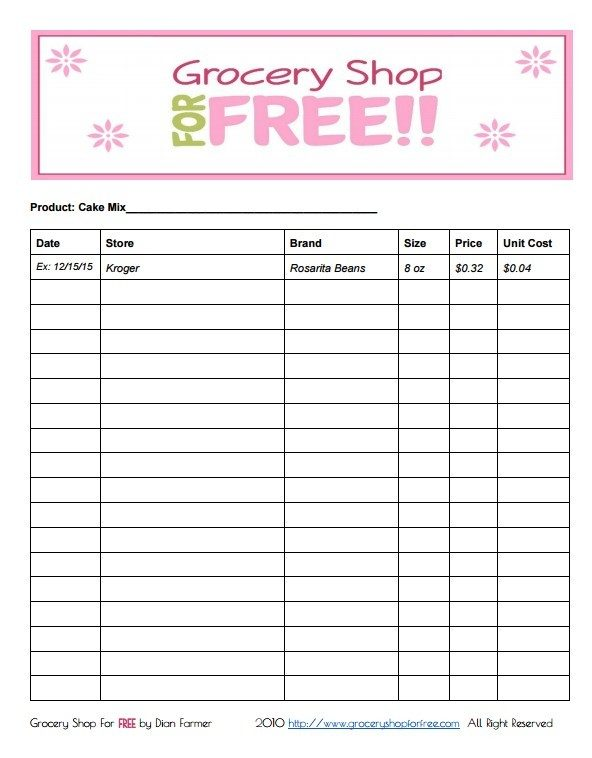 FREE Printable Grocery Store Price Book Sheet
