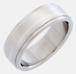 Titanium Flat Top Ring With High Polished Center And Stepped Edges Only $5.99! Down From $199.95!