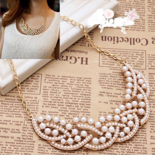 imitation pearl bib necklace