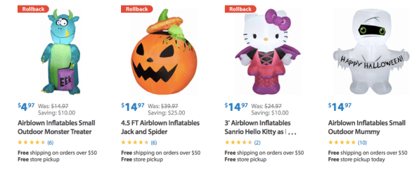 Halloween Inflatables as low as $4.97 + FREE Store Pick Up!