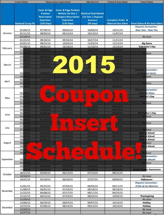 Coupon Insert Schedule 2015