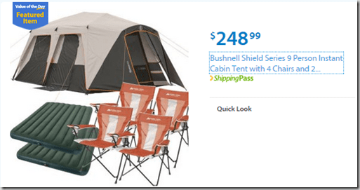 Walmart Values of the Day: Lenovo Laptop for $369 or Bushnell Tent Value Pack for $248!