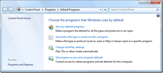Default Programs Windows 7