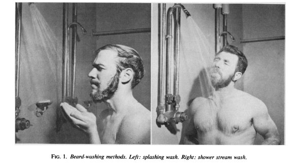 A photo on how to wash a beard.
