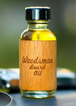 A bottle of woodsman beard oil.