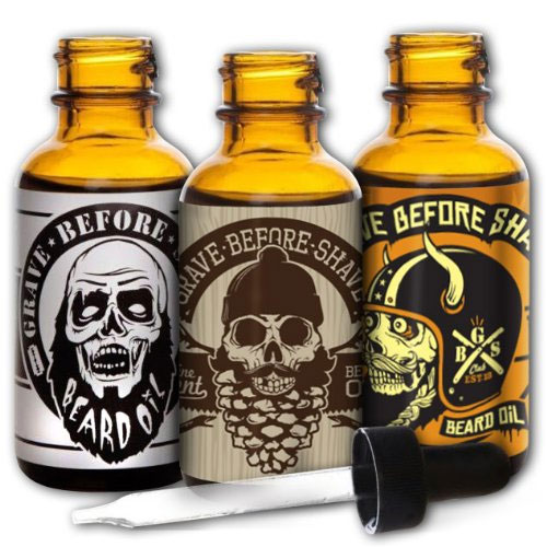 "A photo of the ""Grave Before Shave"" beard oil 3-pack."