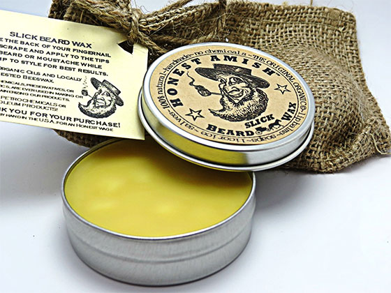 A photo of semi-glossy slick beard wax.