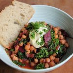 chickpeas with spinach, chard and beet greens