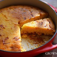 Corn bread with sautéed corn, chili and cheese