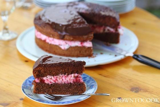 chocolate raspberry birtday cake