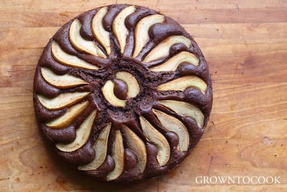 chocolate pear spelt honey cake