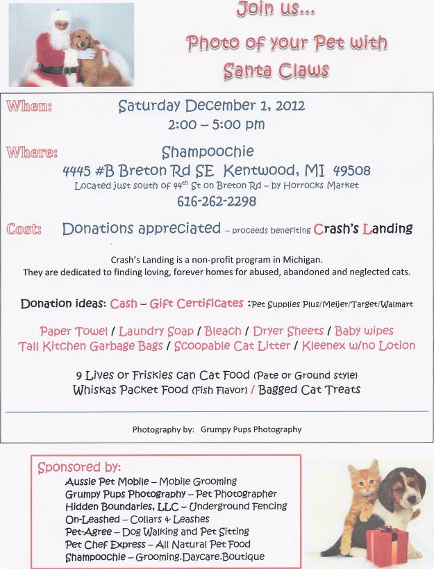 Santa Claws event, Dec 1, 2012, 2-5 pm, Shampoochie, Kentwood, MI