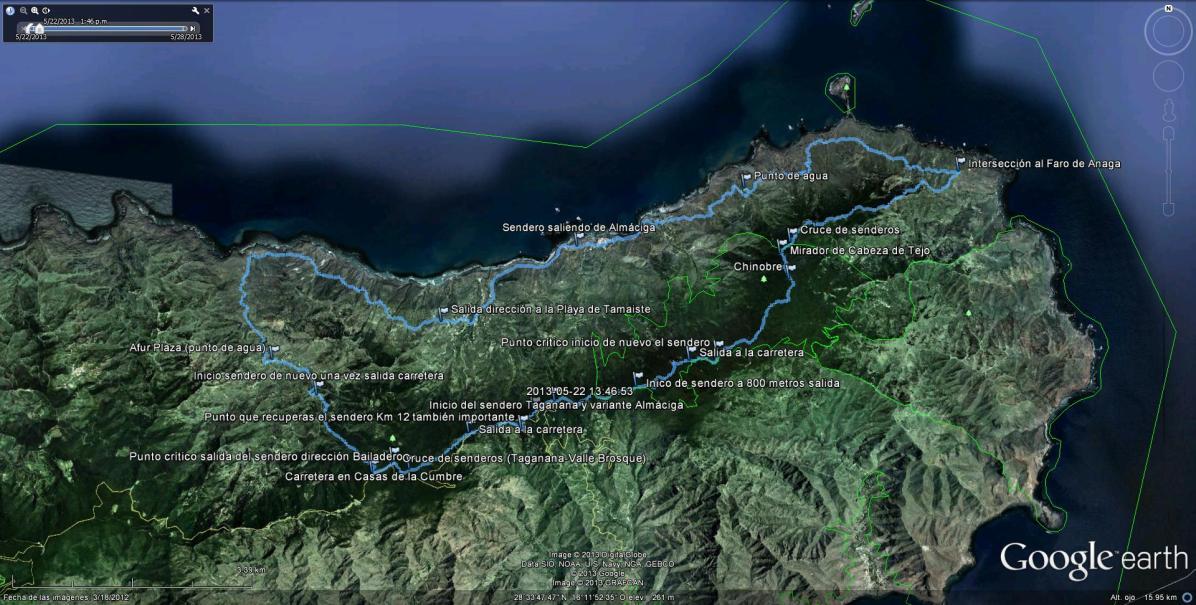 Detalle ruta vertiente norte con los puntos signficativos
