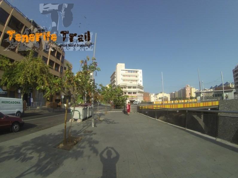 Detalle zona de la salida en Santa Cruz de Tenerife