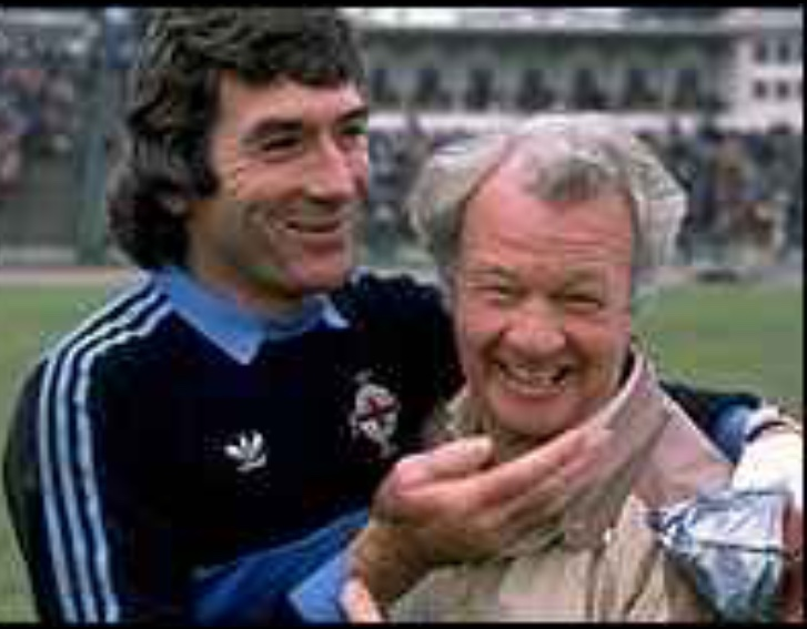 Pat with Northern Ireland manager Billy Bingham