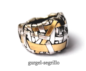 contemporary jewellery - woven band handcrafted in fine silver and gold