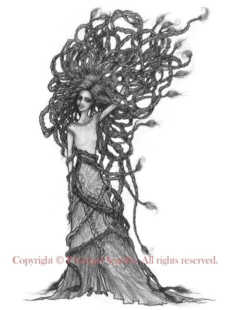 Original drawings made by Brazil-born visual artist P Gurgel-Segrillo: figurative explorations on cross-cultural identity and womanhood, empowerment and femininity.