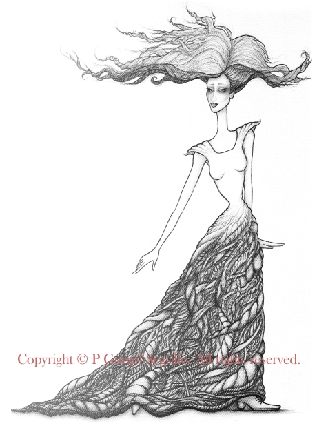 Original drawings made by Brazil-born visual artist P Gurgel-Segrillo: figurative explorations on cross-cultural identity and womanhood, empowerment and femininity.