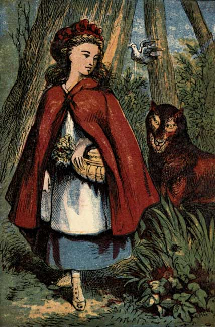 THE WOLF FOLLOWS LITTLE RED RIDING HOOD.