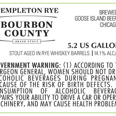 Goose Island Bourbon County Templeton Rye Stout Label