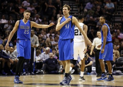 Oct 28, 2014; San Antonio, TX, USA; Dallas Mavericks power forward Dirk Nowitzki (41) reacts to a call against the San Antonio Spurs during the second half at AT&T Center. The Spurs won 101-100. Mandatory Credit: Soobum Im-USA TODAY Sports