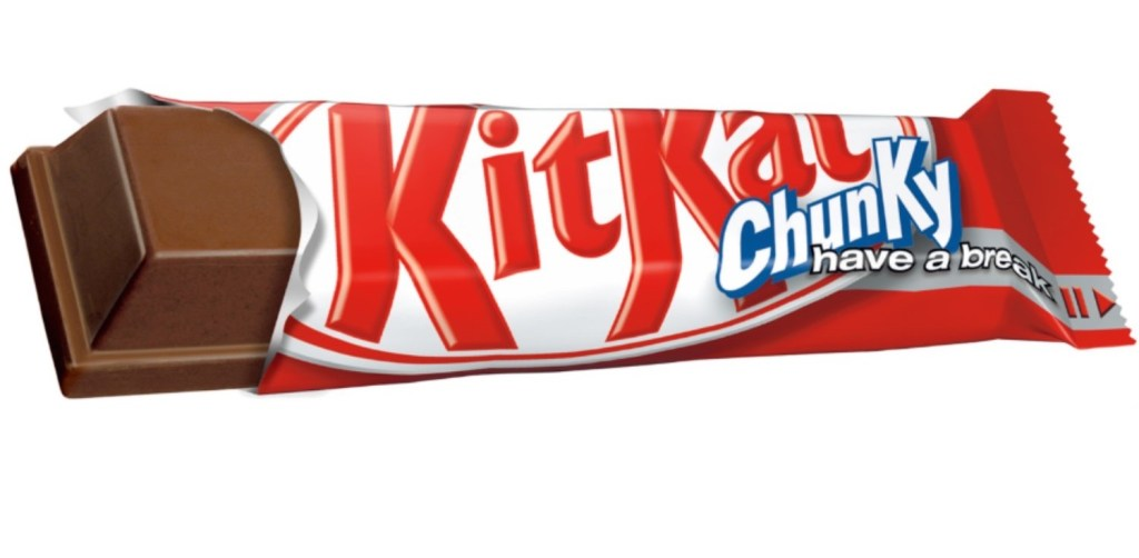KitKat Chunky - tasty on the lips, but nasty on the hips. oh, and Mark's potential six pack!