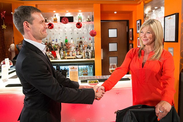 FROM ITV STRICT EMBARGO - TV Listings Magazines & websites Tuesday 9 December 2014, Newspapers Saturday 13 December 2014 - If unsure please email david.crook@itv.com Coronation Street - Ep 8533 Monday 15 December 2014 - 2nd Ep In the bistro, Gail McIntyre [HELEN WORTH] catches impatient Erica [CLAIRE KING] helping herself to a drink, leaving the money on the bar. Irked by Erica's brass neck, Gail orders Nick Tilsley [BEN PRICE] to throw her out and when he fails to do so, Gail flounces out herself. Feeling guilty, Erica offers to take over Gail's duties. Nick's impressed by Erica's flair for customer service and offers to pay her, but she hands him her number and asks him to call instead! Picture contact: david.crook@itv.com on 0161 952 6214 Photographer - Joseph Scanlon This photograph is (C) ITV Plc and can only be reproduced for editorial purposes directly in connection with the programme or event mentioned above, or ITV plc. Once made available by ITV plc Picture Desk, this photograph can be reproduced once only up until the transmission [TX] date and no reproduction fee will be charged. Any subsequent usage may incur a fee. This photograph must not be manipulated [excluding basic cropping] in a manner which alters the visual appearance of the person photographed deemed detrimental or inappropriate by ITV plc Picture Desk. This photograph must not be syndicated to any other company, publication or website, or permanently archived, without the express written permission of ITV Plc Picture Desk. Full Terms and conditions are available on the website www.itvpictures.com