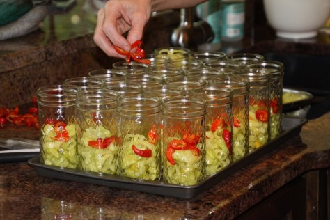 arranging them before the pickling