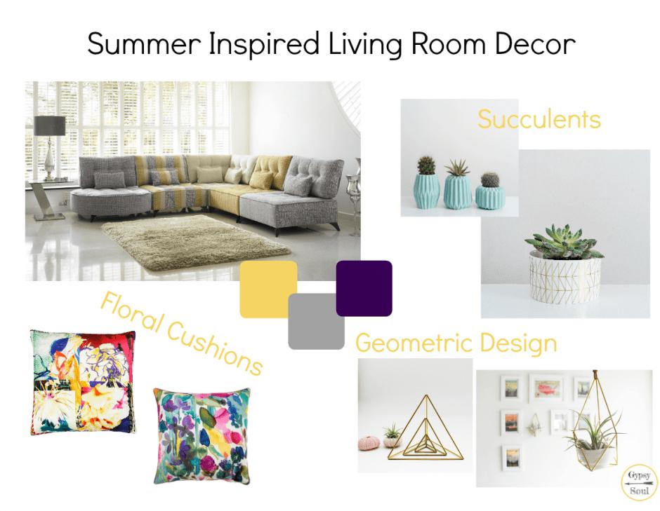 Summer Inspired Living Room Decor Mood Board