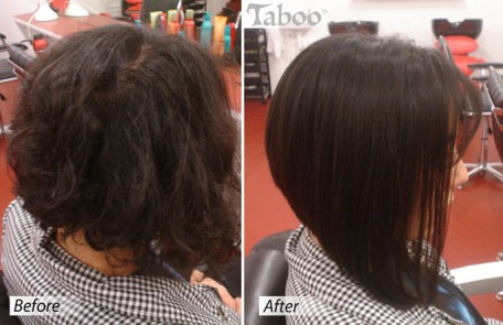 Bob cut design before and after photos
