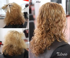 Curly hair cutting before and after photo.