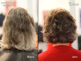 Hair colouring technique for reducing the amount the visible grey hair - before and after photo.