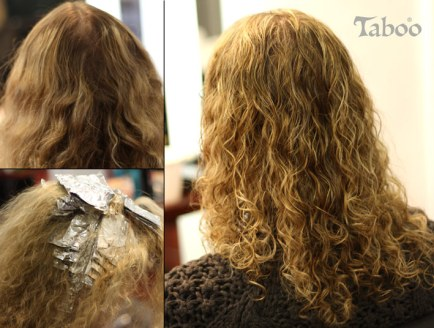 Hair foil highlights on curly hair