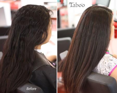 hair highlights on straightened hair photo