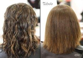 Hair straightening on curly blonde hair