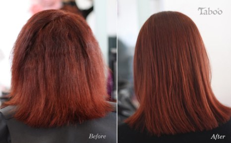 Hair straightening chemically on red hair