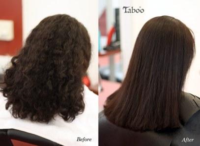 Chemically straightening dark curly hair result