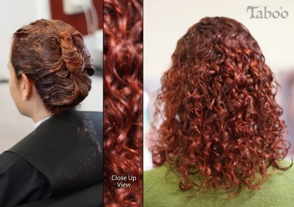 Red hair colours on curly hair photo